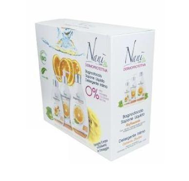 Cofanetto Nani' Bio Agrumi - Bagnodoccia 500 ml + Sapone Liquido 300 ml + Detergente Intimo 200 ml + Spugna Esfoliante