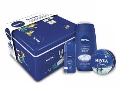 Cofanetto Cross Blu - Nivea Creme 75 ml + Doccia Creme Care 250 ml + Deodorante Roll-On Protect & Care 50 ml + Scatola di Latta