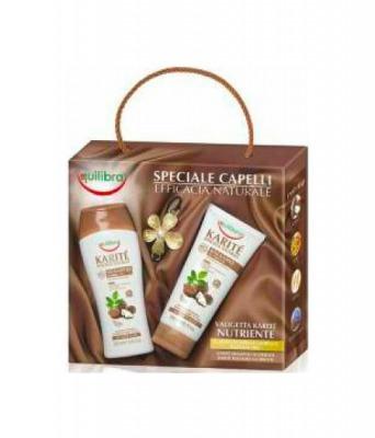 Cofanetto Speciale Capelli Efficacia Naturale KaritǸ - Shampoo 250 ml + Balsamo 200 ml + Elastico Capelli Gioiello Placcato Oro