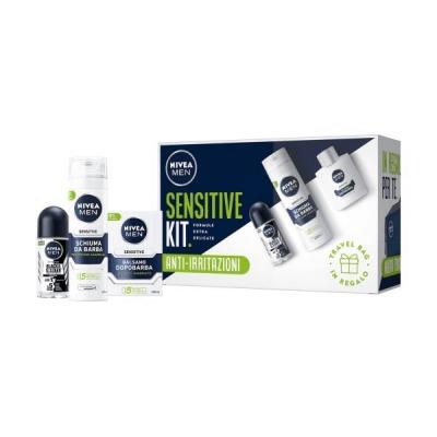 Confezione Sensitive Balsamo Dopobarba 100 Ml + Schiuma Da Barba 200 Ml + Deodorante Roll-On 50 Ml