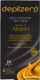 Strisce Depilatorie Viso e Bikini all'olio di Argan 20 Strisce + 4 Salviettine