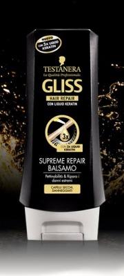 Balsamo Supreme Repair Per Capelli Secchi E Danneggiati Con Cheratina 200 Ml Gliss
